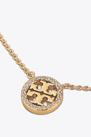 Subtelny naszyjnik z logo TORY BURCH z kryształkami