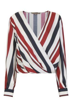 Elegancka satynowa bluzka w paski SPACE Simona Corsellini