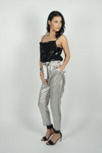 Metaliczne spodnie z wysokim stanem SPACE Simona Corsellini