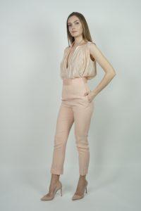 Satynowe spodnie z wysokim stanem SPACE Simona Corsellini