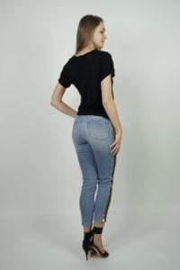 Jeansy z ozdobnymi lampasami z cekinów SPACE Simona Corsellini