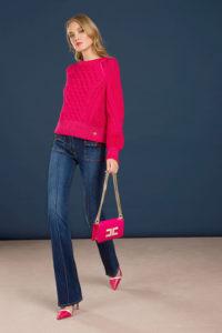 Wełniany sweter z okrągłym dekoltem Elisabetta Franchi