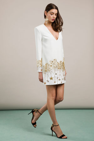 Mini sukienka z cekinowymi obszyciami Elisabetta Franchi