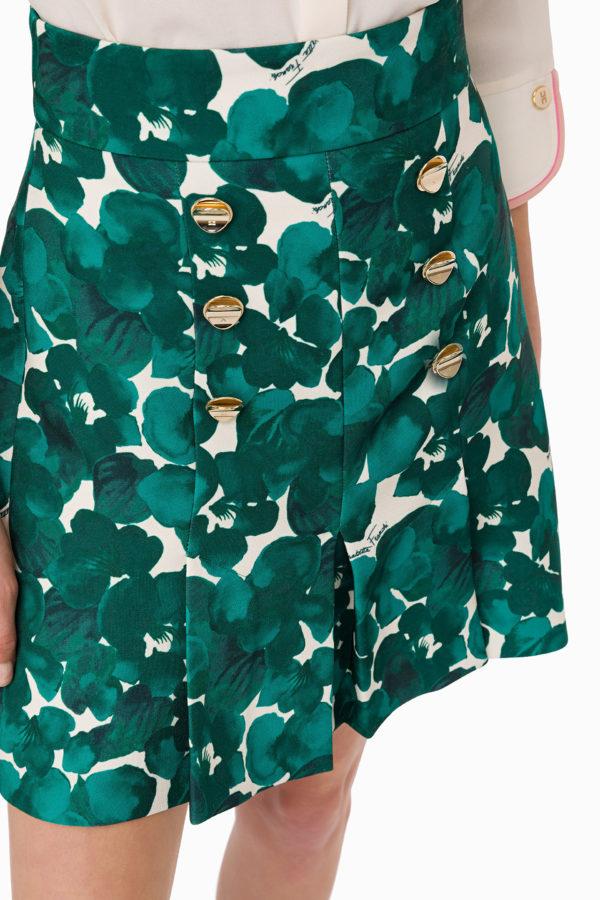 Plisowana mini spódniczka w kwiaty ze złotymi guzikami Elisabetta Franchi