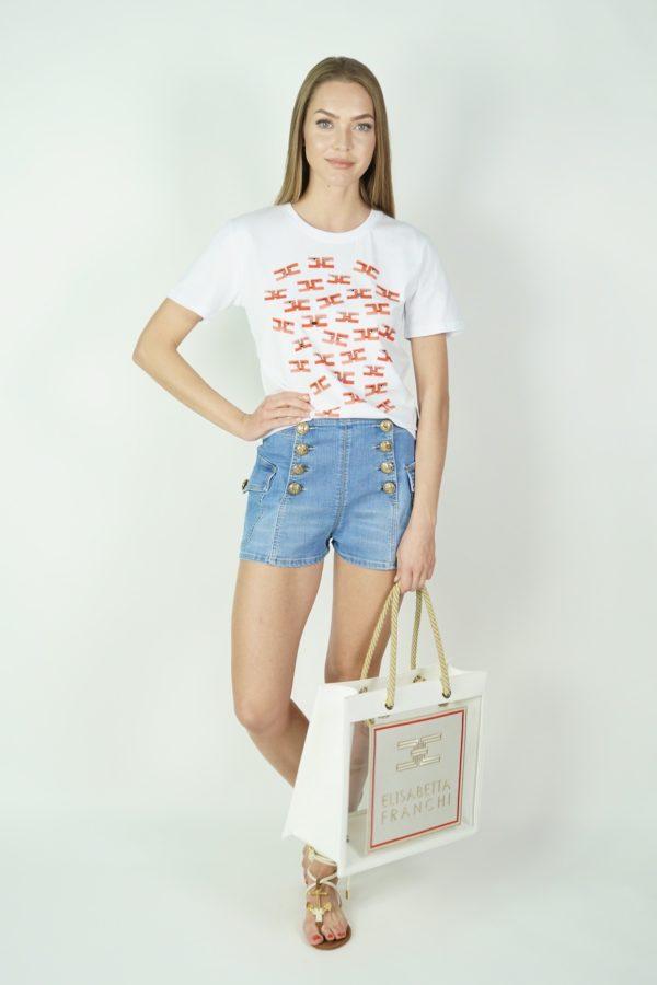 T-shirt z logo ELISABETTA FRANCHI