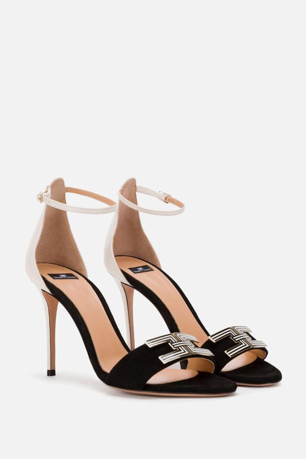 Dwukolorowe sandały z paskiem i logo ELISABETTA FRANCHI