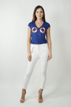 T-shirt z nadrukiem ELISABETTA FRANCHI