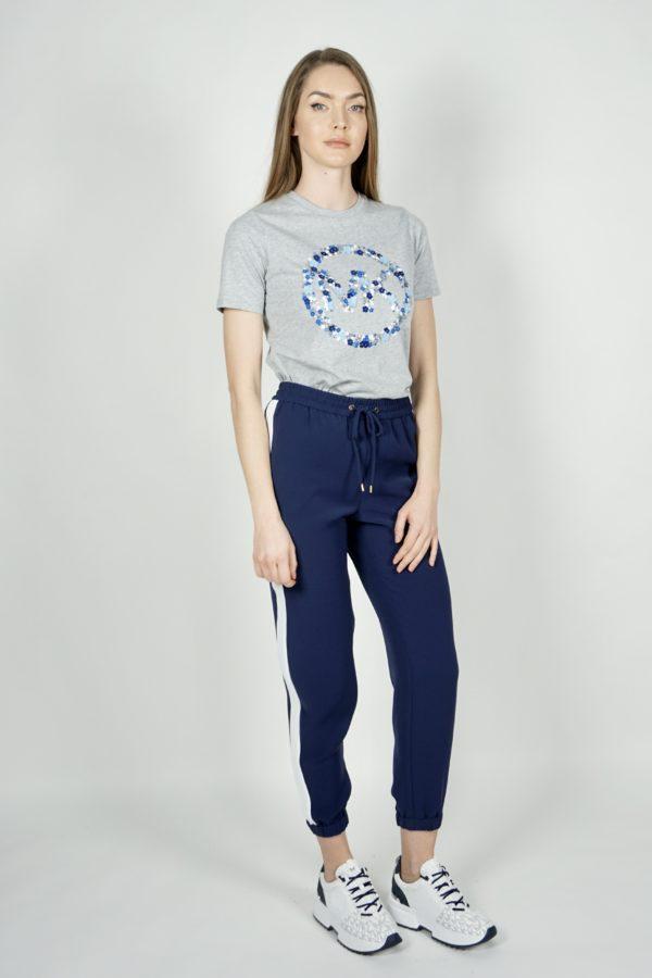 T-shirt z logo w cekinowe kwiaty Michael Kors