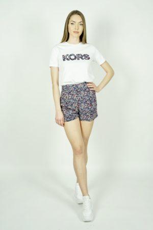 T-shirt z kwiatowym logo Michael Kors