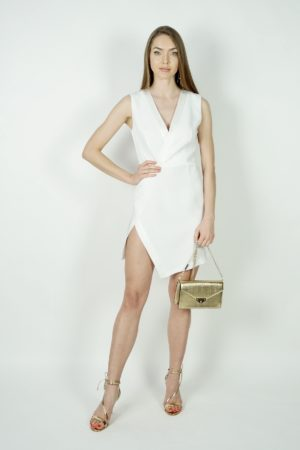 Klasyczna biała sukienka mini Simona Corsellini