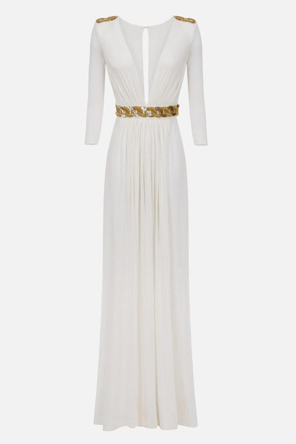 Długa sukienka z haftem w talii ELISABETTA FRANCHI